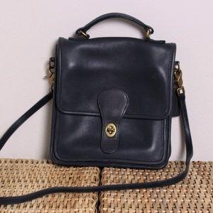 Vintage Coach Navy Blue Station Satchel Bag